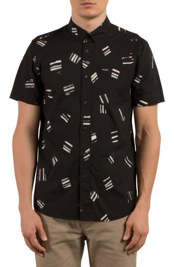 Volcom Micro Warp Print Shirt, Black