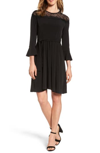Michael Michael Kors Flounce Sleeve Lace Dress, Black