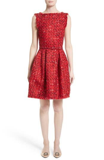 Oscar De La Renta Belted Tweed Dress, Red