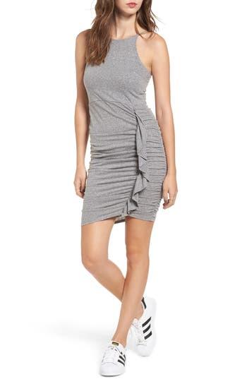 Soprano Gathered Front Body-Con Dress, Grey