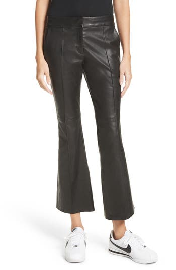 A.l.c. Evan Lambskin Leather Flare Crop Pants, Black