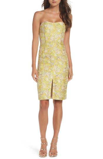 Bb Dakota Occasion Gretta Strapless Jacquard Sheath Dress, Yellow