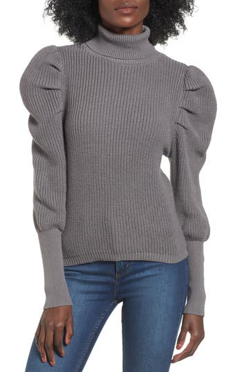 Leith Puff Sleeve Turtleneck Sweater, Grey