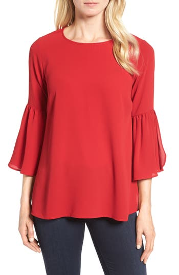 Women's Bobeau Split Ruffle Sleeve Top, Size X-Small - Red