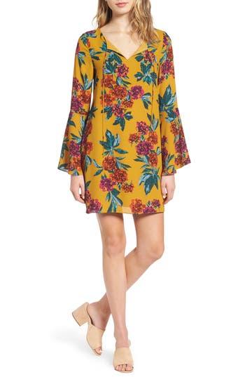 Everly Flare Sleeve Print Dress, Yellow