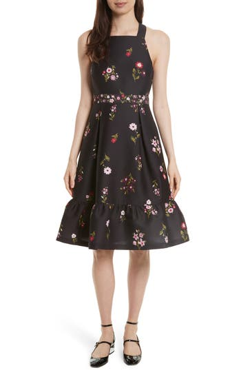 Kate Spade New York In Bloom Fit & Flare Dress, Black