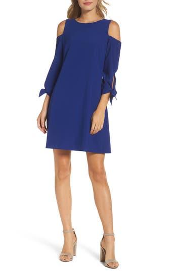 Eliza J Cold Shoulder Shift Dress, Blue