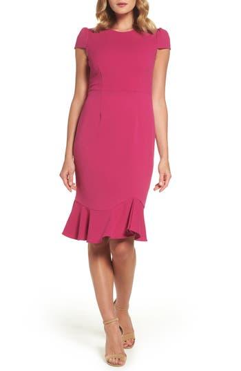 Betsey Johnson Stretch Crepe Trumpet Dress, Pink