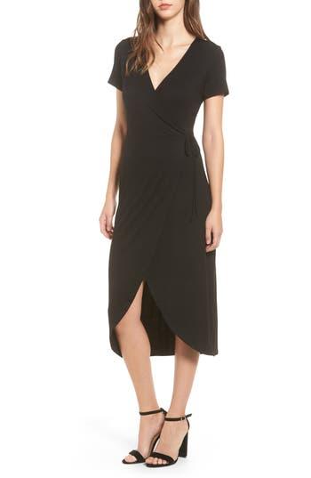 One Clothing Knit Wrap Midi Dress, Black