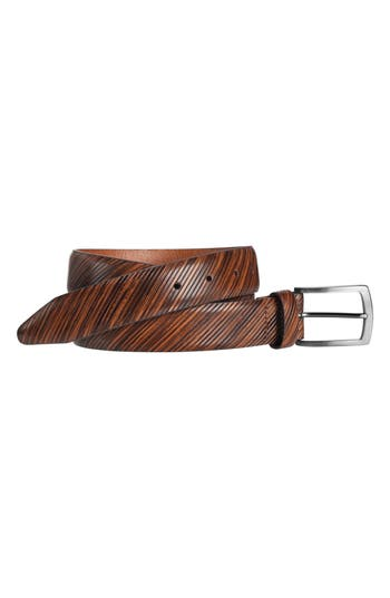 Johnston & Murphy Diagonal Embossed Leather Belt, Tan