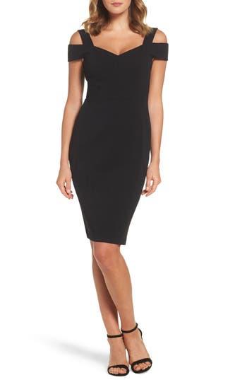 Eliza J Cold Shoulder Sheath Dress, Black