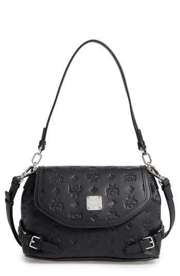 Mcm Signature Monogram Embossed Leather Shoulder/crossbody Bag - Black
