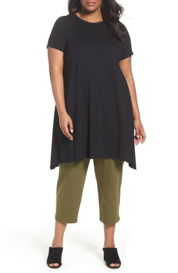 Plus Size Eileen Fisher Shark Bite Hem Jersey Tunic