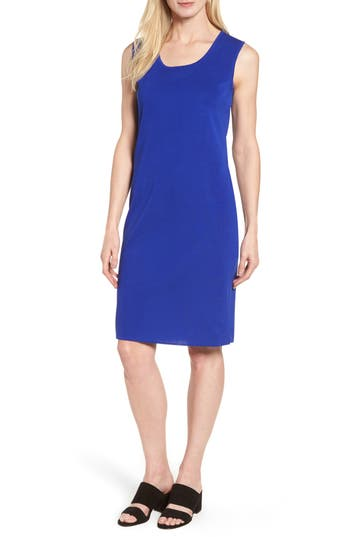 Ming Wang Knit Sheath Dress, Blue