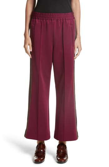 marc jacobs female womens marc jacobs stripe jersey crop track pants size 2 burgundy