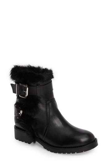 Charles David Rustic Genuine Rabbit Fur Cuff Boot Black