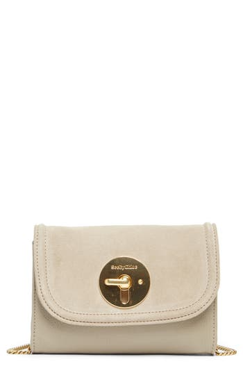See By Chloe Mini Lois Calfskin Leather & Suede Clutch - Grey