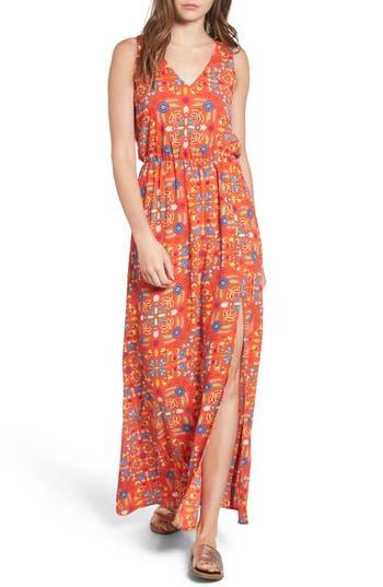 Everly Print Maxi Dress, Orange
