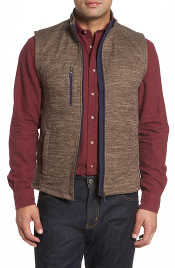 Men's Johnnie-O Tahoe Fleece Vest, Size Small - Brown