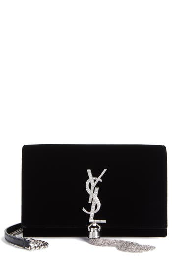 Women's Saint Laurent Small Kate Crystal Logo Wallet On A Chain - Black