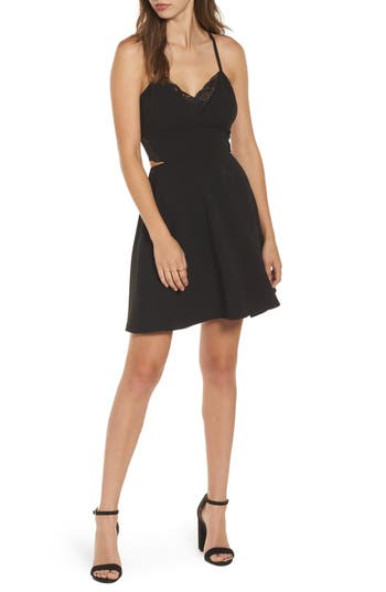 Speechless Lace Trim Skater Dress, Black