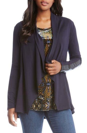 Karen Kane Faux Leather Patch Fleece Knit Jacket, Blue