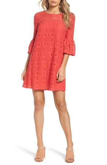 Bb Dakota Jesper Bell Sleeve Lace Shift Dress, White