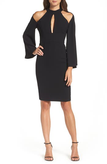 Women's Bardot Drape Sleeve Cutout Sheath Dress