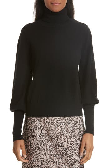 Women's Milly Blouson Sleeve Cashmere Sweater, Size Large - Black