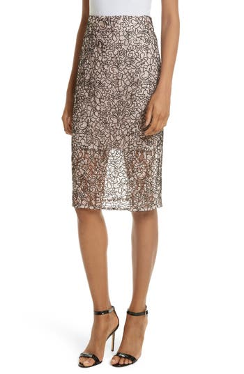 Women's Milly Corded Lace Pencil Skirt, Size 0 - Pink