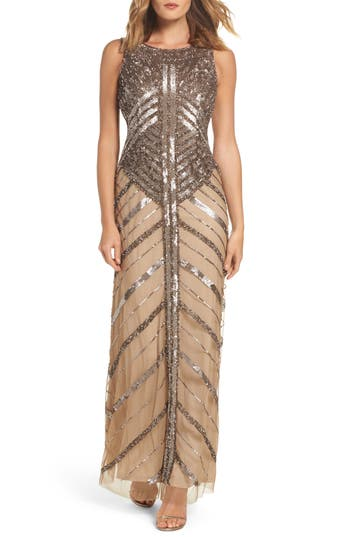 Adrianna Papell Long Beaded Dress, Metallic