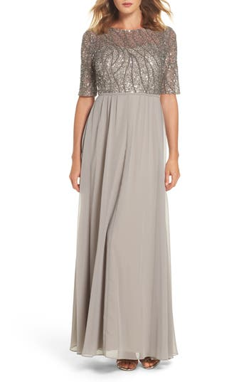 Adrianna Papell Embellished Bodice Gown, Metallic