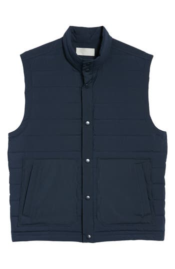 Vince Quilted Down Vest, Blue