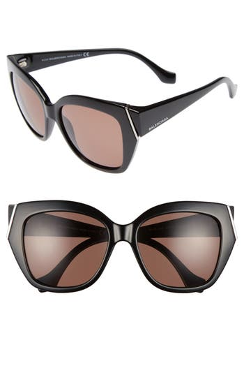 Balenciaga 57Mm Cat Eye Sunglasses - Shiny Black/ Brown