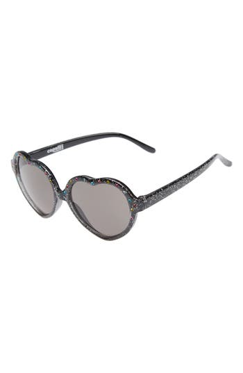 Girl's Capelli Of New York Glitter Heart Sunglasses - Black Combo
