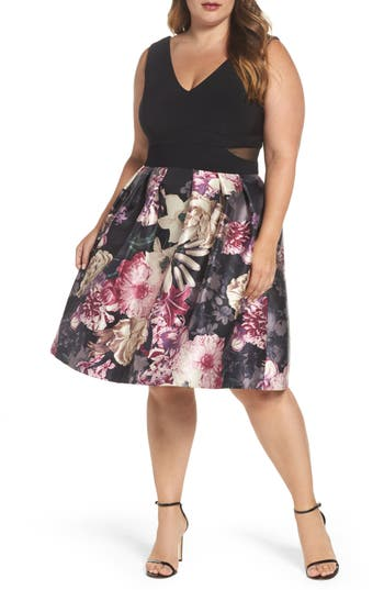 Plus Size Xscape Jersey Floral Party Dress, Black