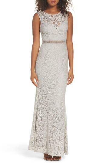 Lulus Music Of The Heart Lace Maxi Dress, Grey