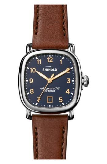 Shinola The Guardian Leather Strap Watch, 36mm