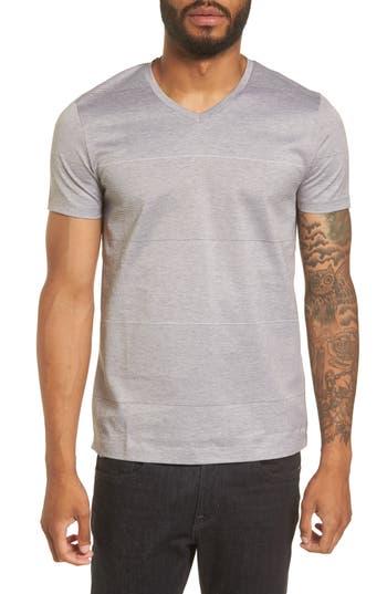 Boss Slim Fit Stripe V-Neck T-Shirt, Grey