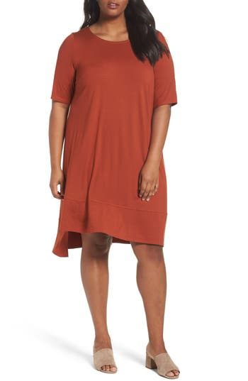 Plus Size Eileen Fisher Jersey Shift Dress, Orange