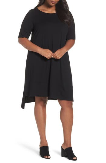 Plus Size Eileen Fisher Jersey Shift Dress, Black