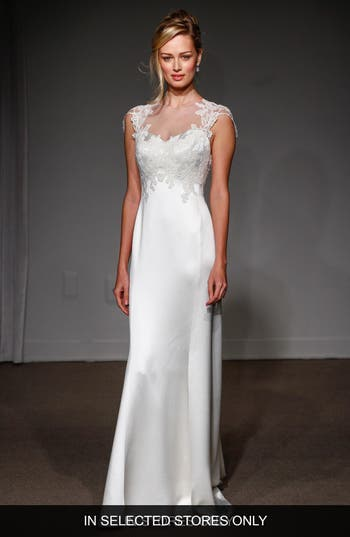 Anna Maier Couture Grace Illusion Neck Lace & Satin A-Line Gown
