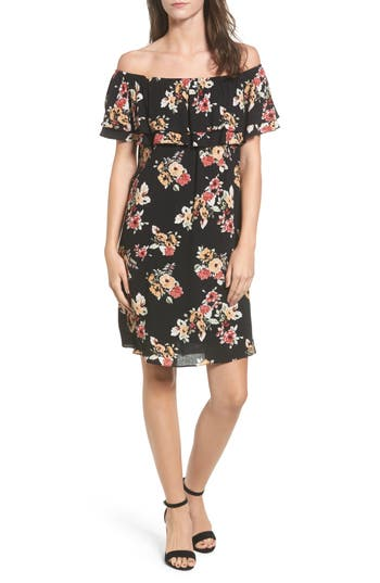 Everly Ruffle Off The Shoulder Dress, Black