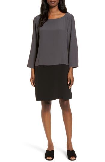 Eileen Fisher Colorblock Tencel Blend Shift Dress, Brown