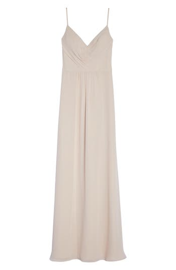 Hayley Paige Occasions Gathered V-Neck Chiffon Gown, Pink
