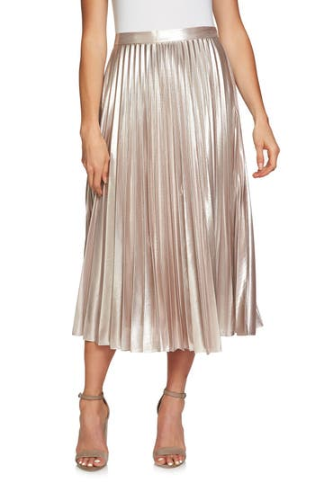 1.state Metallic Pleated Midi Skirt, Metallic
