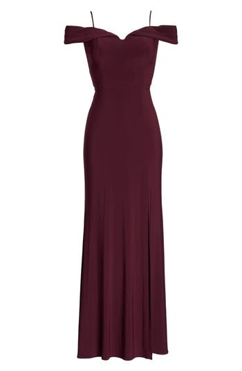 Morgan & Co. Off The Shoulder Gown, /4 - Burgundy