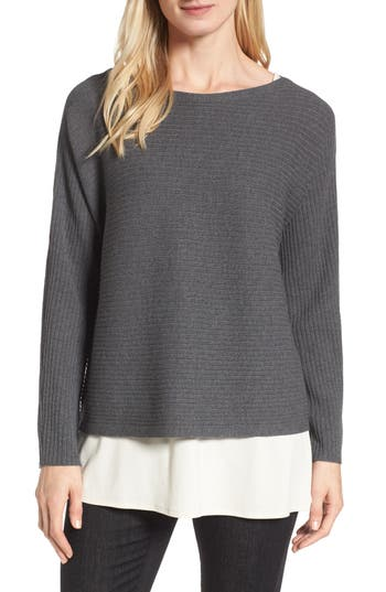 Eileen Fisher Boxy Ribbed Wool Sweater, Brown