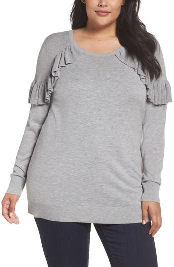Plus Size Women's Sejour Ruffle Sleeve Sweater
