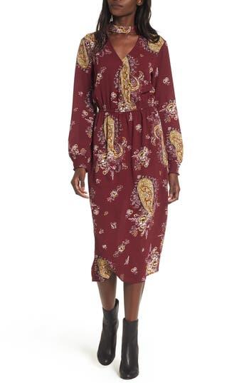 Love, Fire Gigi Floral Surplice Midi Dress, Burgundy